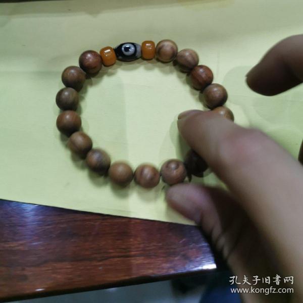海南黄花梨1.0手串虎皮纹