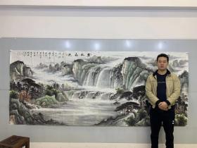 中国国画家协会会员孔红贵老师小八尺聚宝盆山水画【碧水长流】360厘米*145厘米百分百手绘真迹