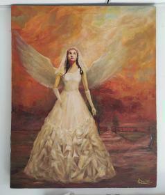 名家李明原创油画:天使新娘,65:81,拍卖价在五到十万