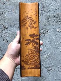 手工竹雕山水意境臂搁长29cm   宽8cm
