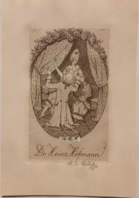 德国早期酸刻铜版画藏书票求爱的绅士与闺秀玫瑰骑士主题