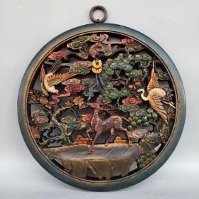 民国老香樟木胎 手工镂空雕刻,彩绘福禄寿禧漆器挂屏一件,直径27厘米,重440克