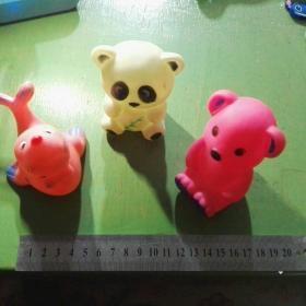 老胶皮玩具 熊猫 小熊 海豹(三个合售)