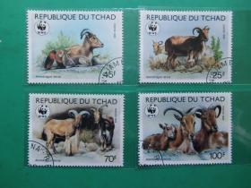 【乍得共和国盖销邮票】羚羊类动物(共计4枚)
