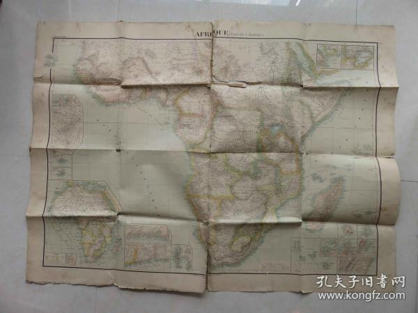 {会山书院}5#1930年非洲-地形国家殖民地形势原版彩色地图