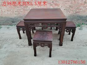 清代老红木红酸枝方桌古董古玩老木器老桌子木器