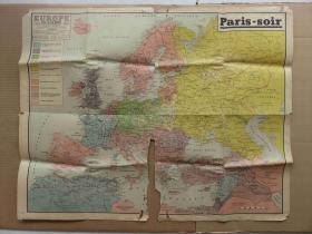 {会山书院}6#1940年欧洲-地形山脉道路国家原版彩色地图