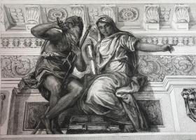 19世纪晚期蚀刻铜版画 《克洛诺斯与历史》—意大利文艺复兴时期威尼斯画派画家保罗·委罗内塞(Paolo Veronese,1528-1588年)作品 37.5*28厘米