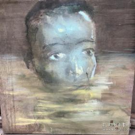 当代著名艺术家周沧米木板油画一幅