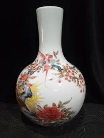文革红色官窑毛瓷花鸟纹赏瓶