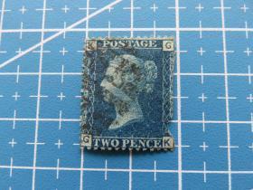 1850年左右英国女王像蓝便士邮票(有破损)