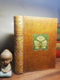 1924年  POETICAL WORKS OF ALFRED LORD TENNYSON  书顶刷金  金色浮雕书脊   烫金封面  内页干净  19.5X13.5CM