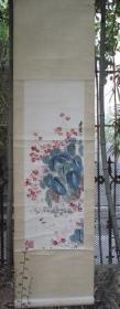早期木板水印画挂轴:齐白石  海棠图