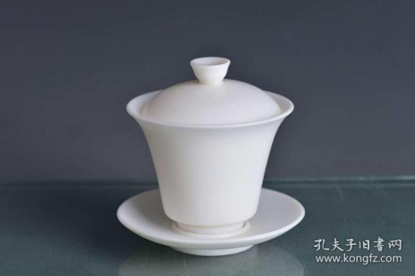 正德甜白瓷天地人三才盖碗茶杯茶盏