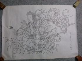80年代 国画人物画 白描人物飞天女神 原稿手绘真迹