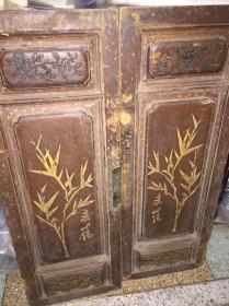 清代潮州木雕,两片厚木板,画竹名家澄海蔡心侬