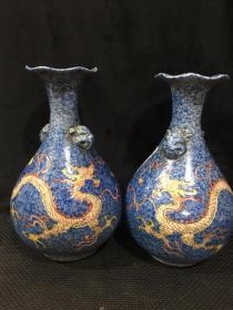 大明景泰年制,雪花蓝雕刻手绘粉彩龙虎头花口瓶一对 特价包邮