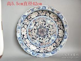 乡下收的元代青花瓷釉里红花卉瓷盘