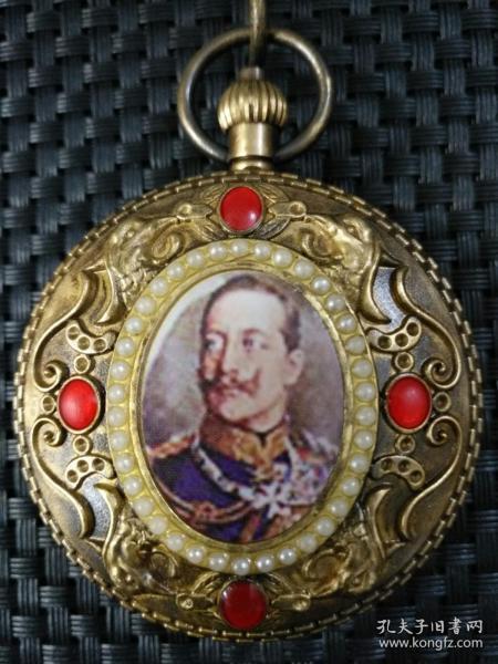 铜镶嵌红宝石珍珠西洋图案【欧米茄】双开老怀表