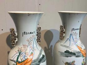 民国时期五彩人物大花瓶全品包老