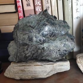 崂山海底玉,崂山绿石摆件,摆放收藏佳品!水坑老料,极品玉核!重量653克。