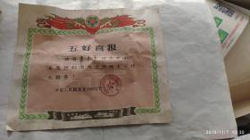 1965年解放军6369部队政治部五好战士喜报