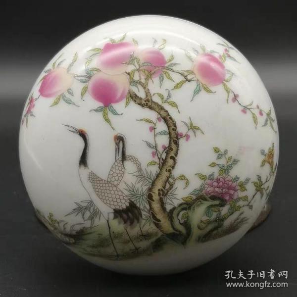 仙鹤桃纹印泥盒粉盒