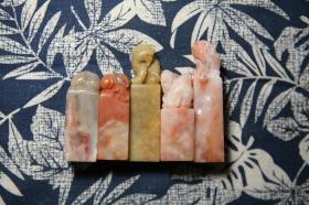 【印石章料】寿山芙蓉雕钮兽钮印章5枚打包合售(2-2.5左右的印面)