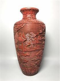 旧藏剔红漆器雕刻山水风景花瓶3