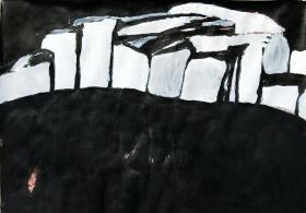 青年书画家胡子彩墨绘画作品《白墙》