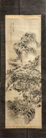 日本回流,不知名高手精品老画,新裱,画心有虫蛀,能看到草稿轮廓,木质轴头步裱,45.5*135