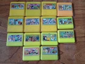 FC小霸王游戏卡机 游戏卡(14个合售)含 魂斗罗系列,热血系列,街霸,真人快打,七龙珠,忍者神龟等详见图片
