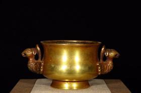明 精铸铜胎鎏金凤首耳炉