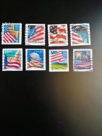 外国邮票 美国邮票 国旗8枚(信销票)