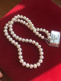 周六福天然珍珠项链 近圆强光7-8毫米珍珠项链带鉴定证书