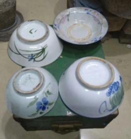 5-70年代,手绘瓜果碗4个