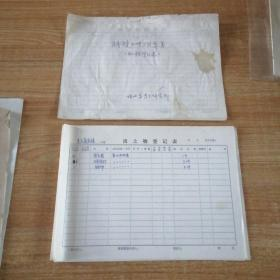 《唐惠庄太子墓发掘出土物登记表》和《桥陵工地陪葬墓出土物登记表》原件。