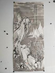 约民国时期  老山水画一副  作者不识 有虫蛀  尺寸110x49