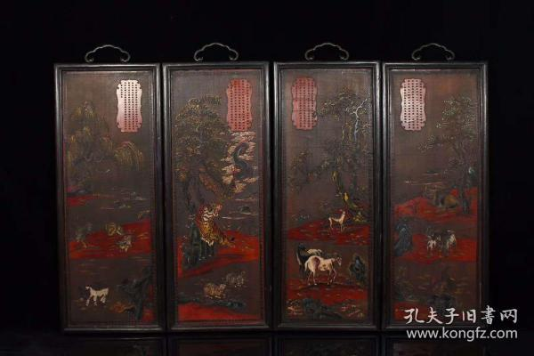 舊藏漆器木胎十二生肖四條屏