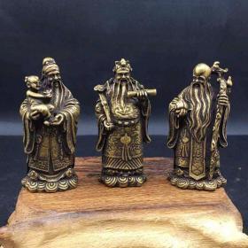 3个铜器铜佛像福禄寿高5.5厘米一套3个的价格