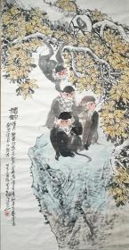 丁浩然国画猴系列《秋韵》