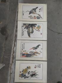 (年底清仓 降价处理)海派老画家 吴茀之 花鸟册页4个 原装旧裱 保存好 有霉斑 每个尺寸35x23