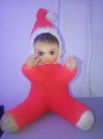 老玩具老娃娃 胶皮娃娃 保存的好高45厘米80年代眼睛会动