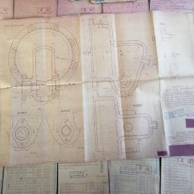 老图纸 五十年代造船厂苏联日本老图纸一批 部分日文 近二百斤