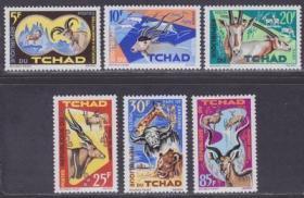 乍得1965年 野生动物羚羊,水牛,狮子,长颈鹿等6全新
