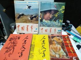 中国青年(1981.8)(1981.22)(1982.5)人民文学(1980.9小说专刊)(1980.10)五本杂志