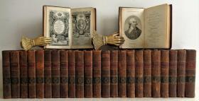1793-95年 HISTORY OF ENGLAND 25本合售 Hume Smollett MCormick Lloyd  总计含84副插图 不缺页 全皮装帧 14.5X9.2CM