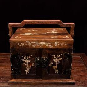 黄花梨木龙凤和鸣龙凤呈祥多层手提盒食盒木箱药箱