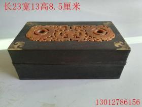 古董杂项清代紫檀镶嵌玉石首饰盒摆件
