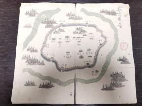 清徐家汇藏书楼旧藏《徽州府婺源县》彩绘地图